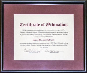 Cert of Ordination